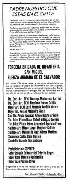 Esquela Tercera Brigada de Infanteria de El Salvador
