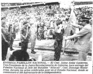 Entrega del Pabellon Nacional al Batallon Atlacatl